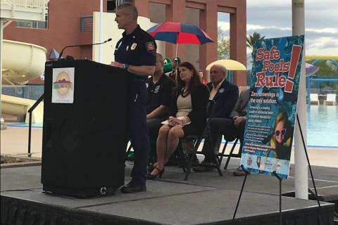 Henderson Fire Chief Shawn White speaks at the 2018 Safe Pools Rule! launch. (Henderson Profess ...