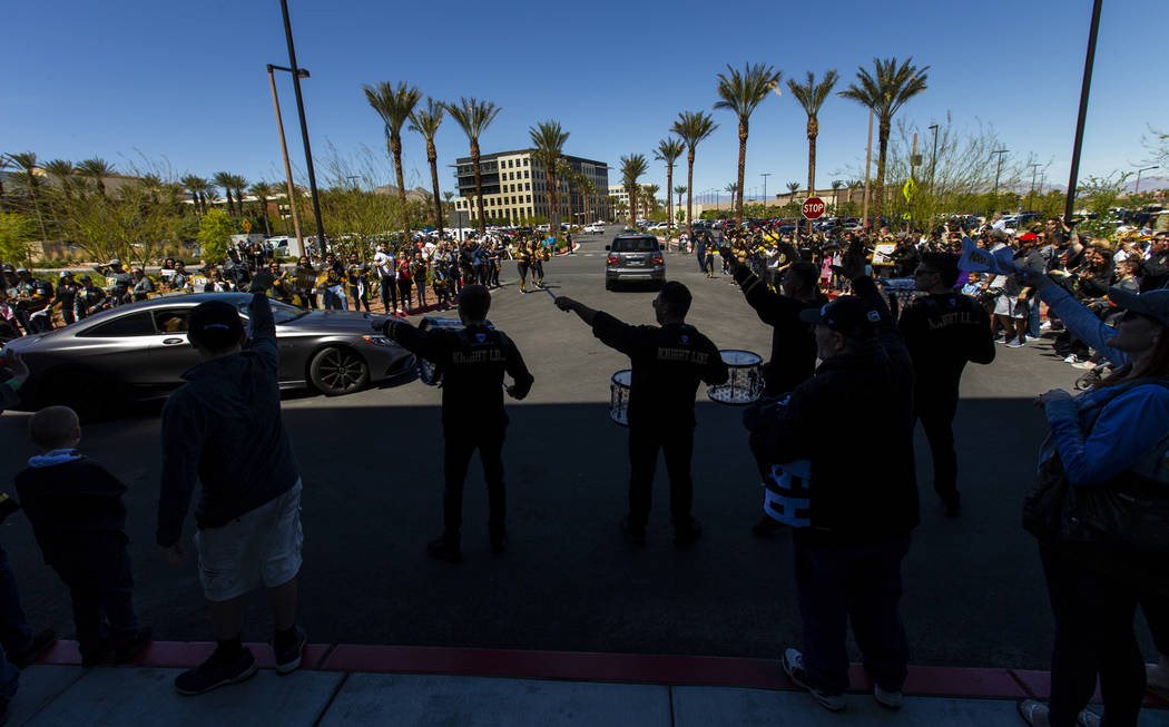 The Knight Line join fans to help send off the Golden Knights players departing City National A ...