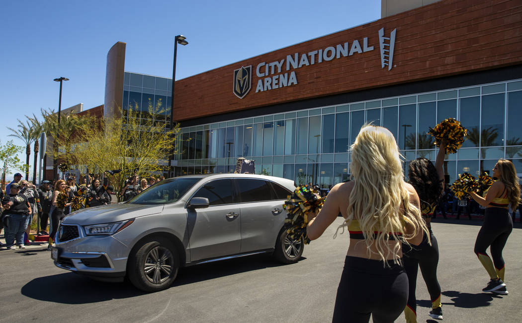 Fans, Golden Aces and the Knight Line help send off the Golden Knights players departing City N ...