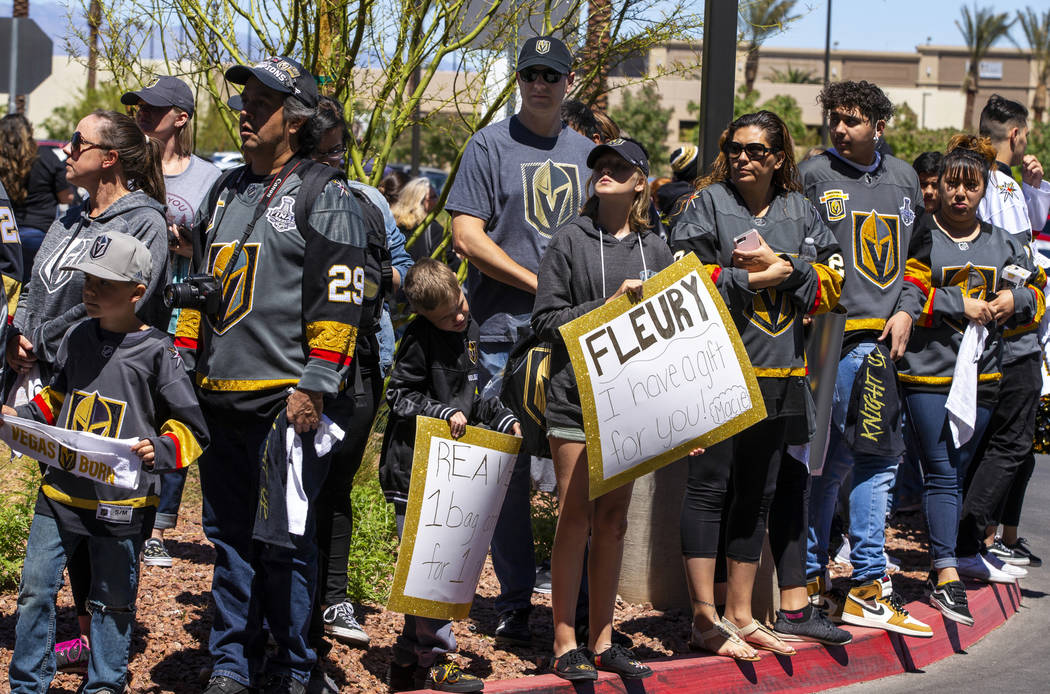 Fans send off the Golden Knights players departing City National Arena for San Jose on Wednesda ...