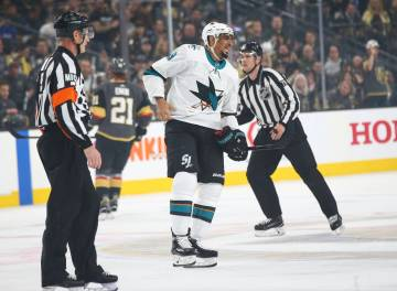 San Jose Sharks left wing Evander Kane (9) gets sent to the penalty box during the first period ...