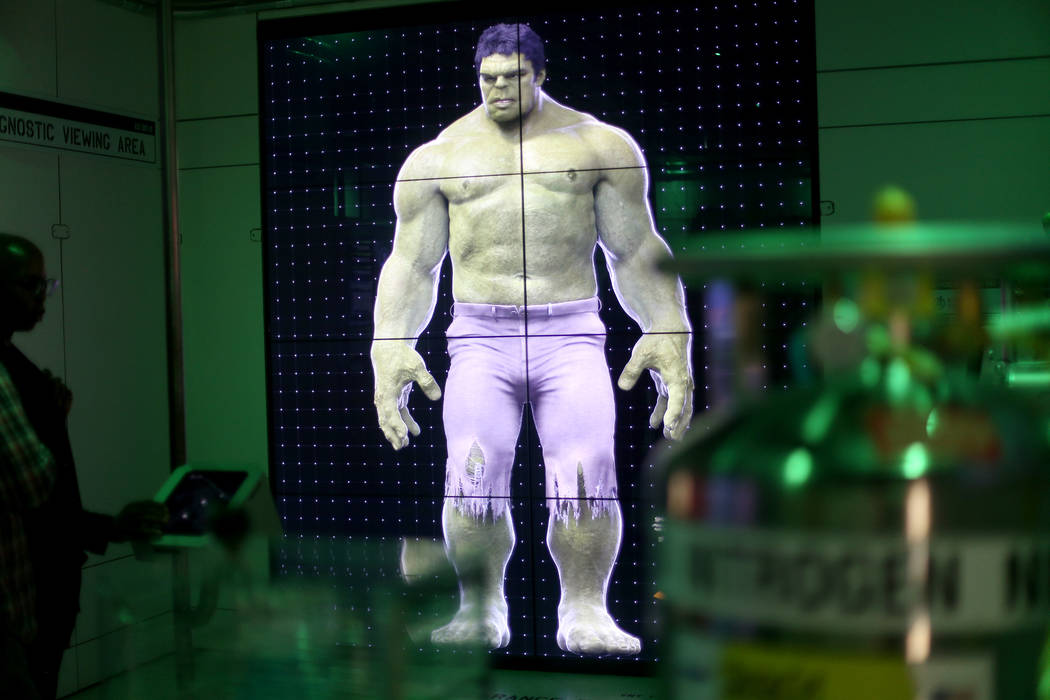 The Incredible Hulk interactive feature at the Avengers S.T.A.T.I.O.N exhibit at Treasure Islan ...