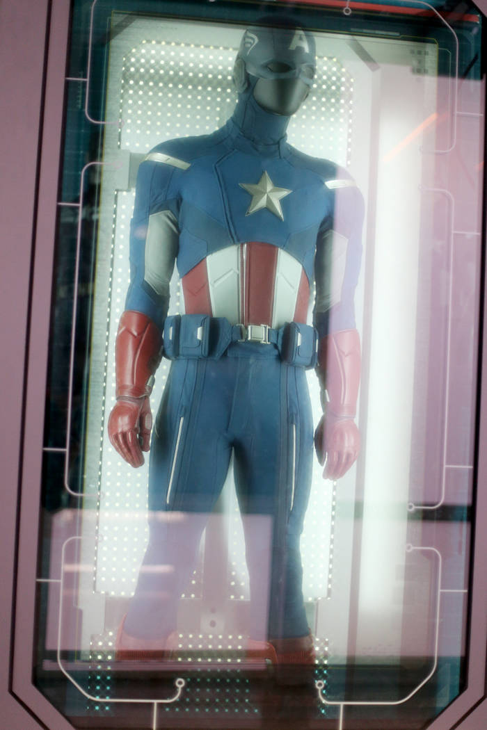 The original Captain America costume from the 2012 Avengers film at the Avengers S.T.A.T.I.O.N ...