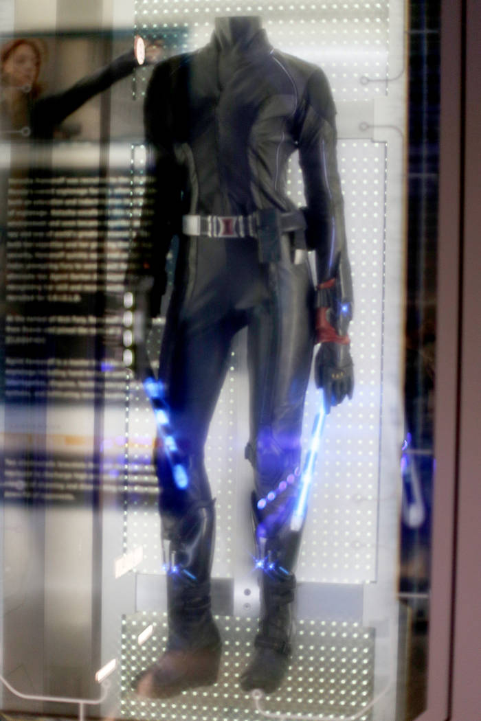 The original Black Widow costume from the 2012 Avengers film at the Avengers S.T.A.T.I.O.N inte ...
