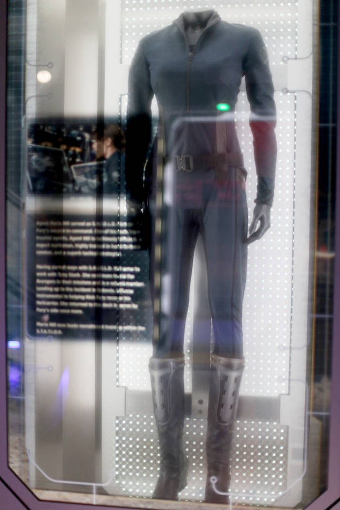 The original Maria Hill costume from the Captain America: The Winter Soldier 2014 film at the A ...