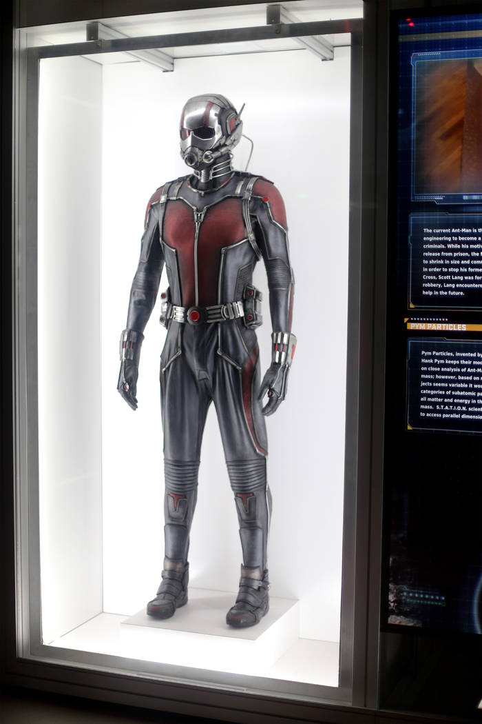 The original Ant-Man costume from the 2015 Ant-Man film at the Avengers S.T.A.T.I.O.N interacti ...