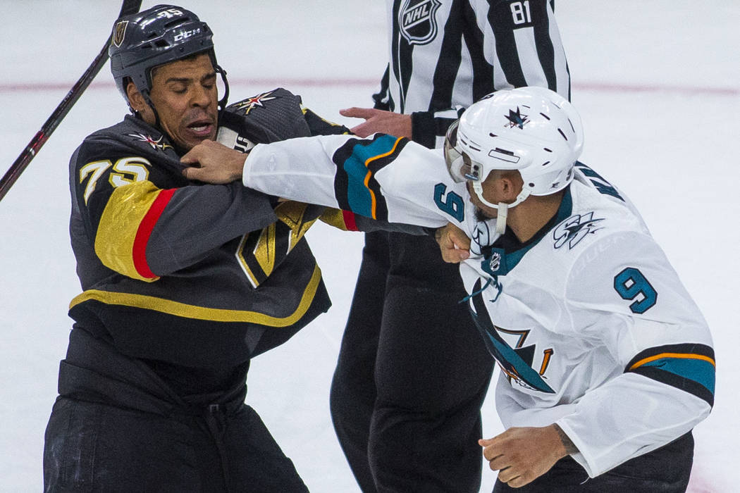 7199e45c Golden Knights right wing Ryan Reaves (75) fights with San Jose Sharks left  wing