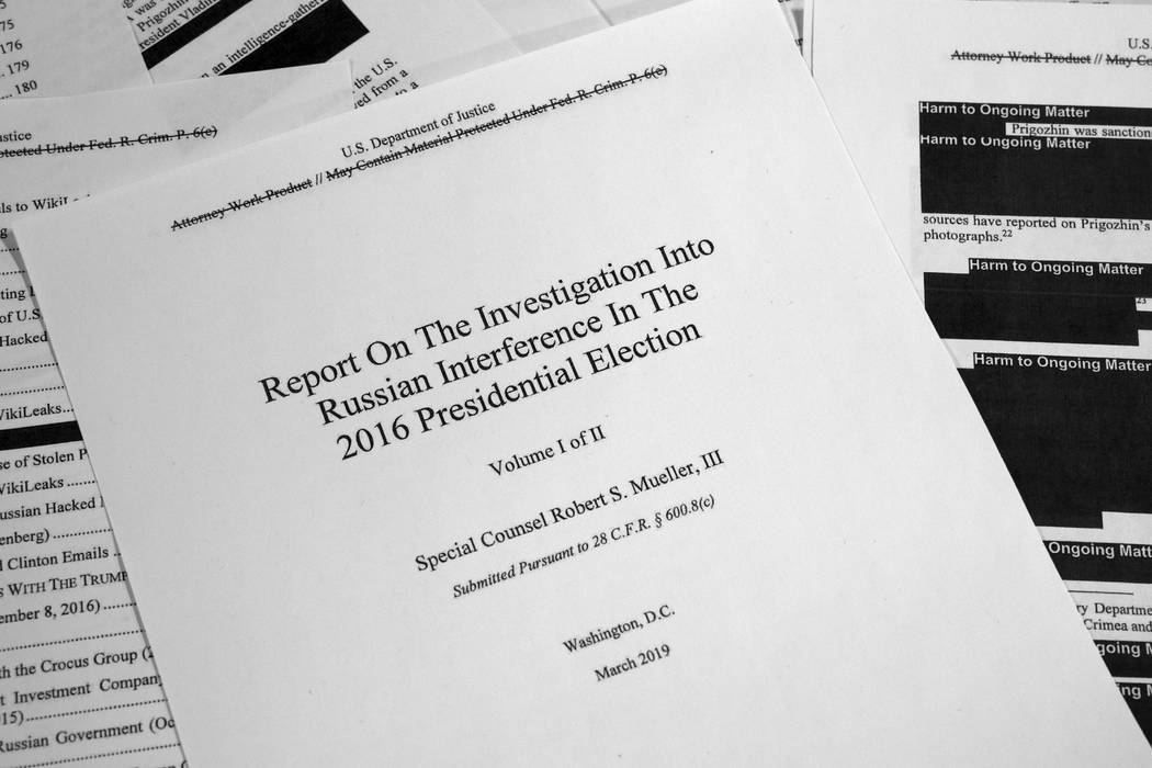 Special counsel Robert Mueller's redacted report on Russian interference in the 2016 presidenti ...