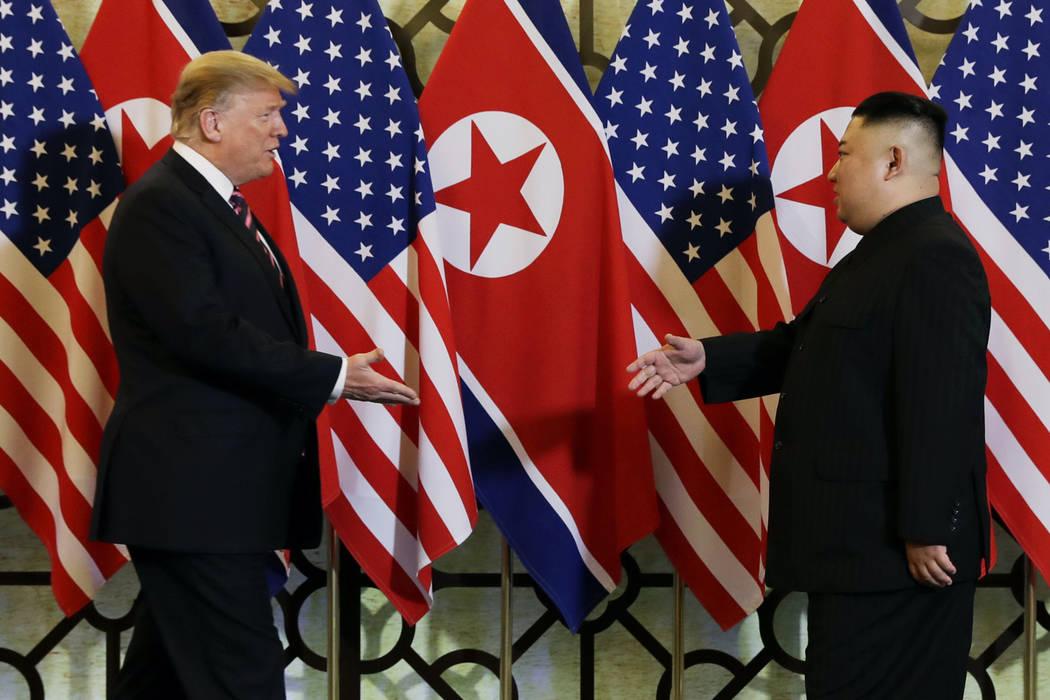 President Donald Trump meets North Korean leader Kim Jong Un Fev. 27, 2019, in Hanoi. North Kor ...
