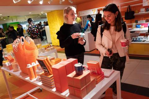 Visitors to Story walk through the shop at Macy's in New York on April 10, 2019. On Thursday, A ...
