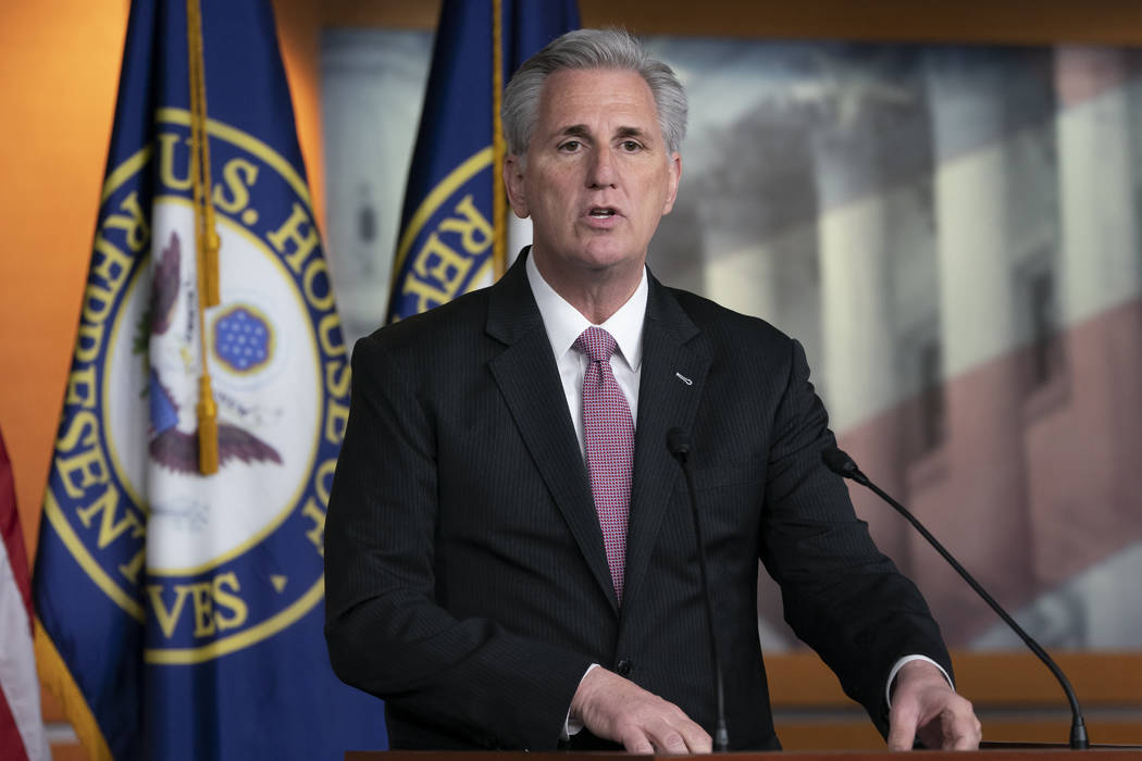 House Minority Leader Kevin, McCarthy, R-Calif., speaks to reporters at a news conference on Ca ...