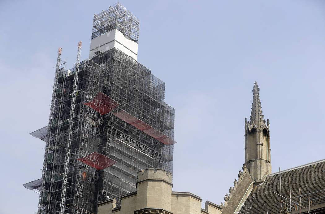 Britain's Elizabeth Tower, which houses the clock Big Ben is covered in scaffolding, in London ...