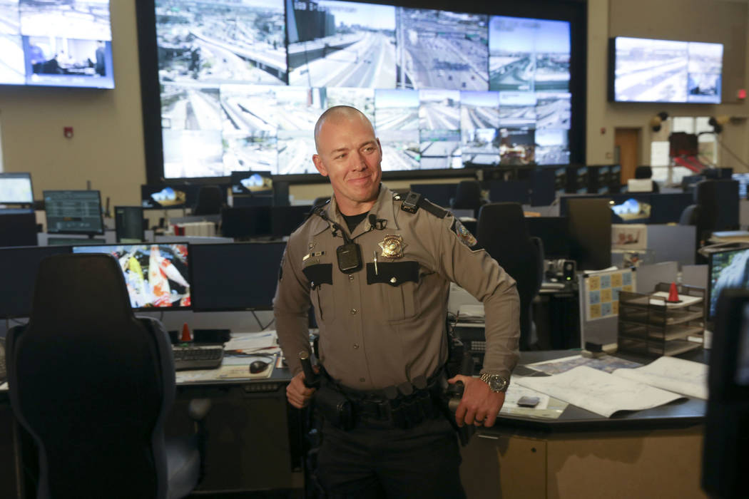 Nevada Highway Patrol trooper Jacob Fisher during a news conference at NHP Southern Command in ...