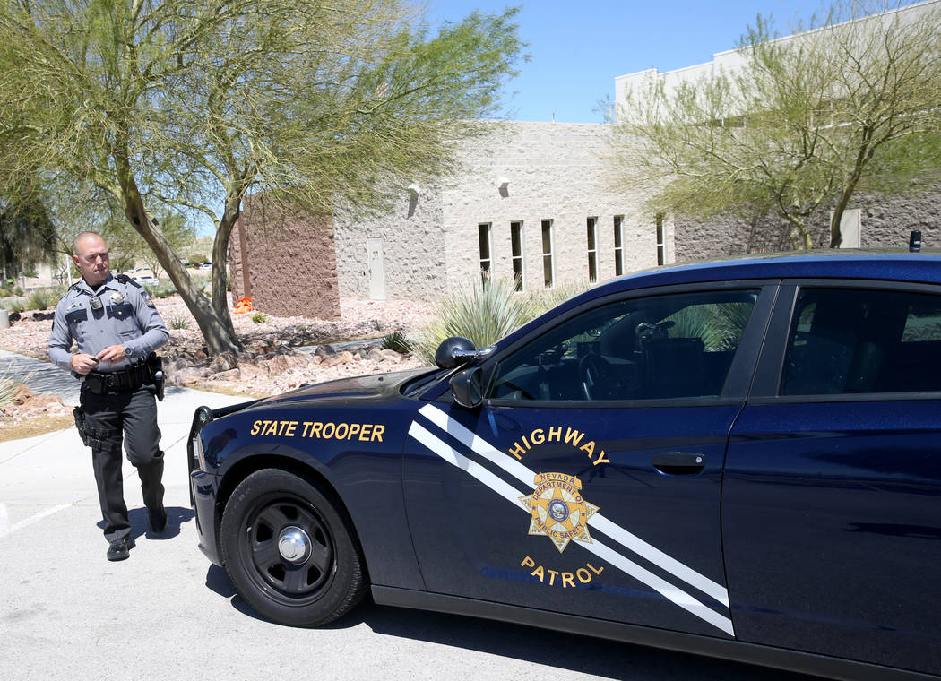Nevada Highway Patrol trooper Jacob Fisher after a news conference at NHP Southern Command in L ...