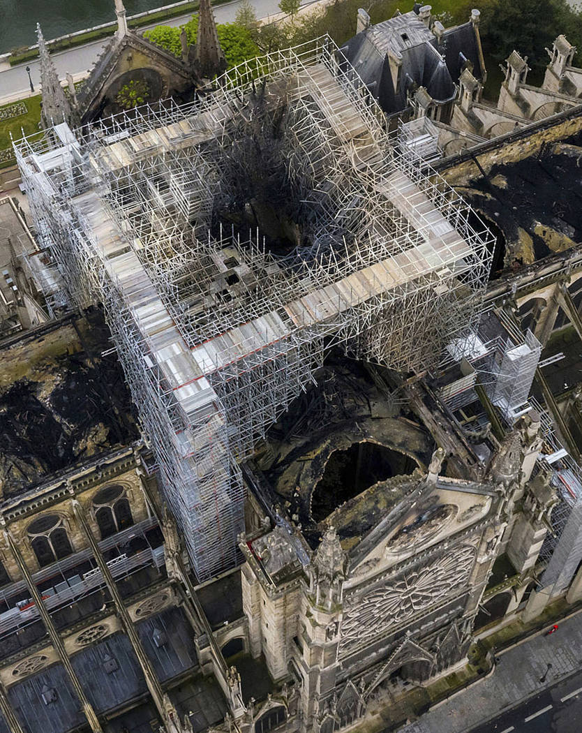 An aerial shot on Wednesday April 17, 2019, shows the fire damage to Notre Dame Cathedral in Pa ...