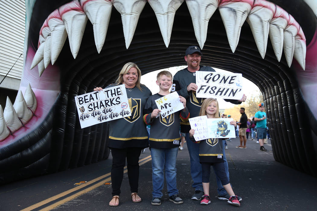 Corianne Guerin, from left, with her son Everett, 9, Sadie, 6, and husband Jonathan, from Las V ...