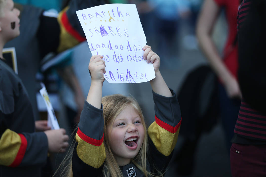Sadie Guerin, 6, of Las Vegas, cheers before Game 5 of an NHL Western Conference quarterfinal s ...