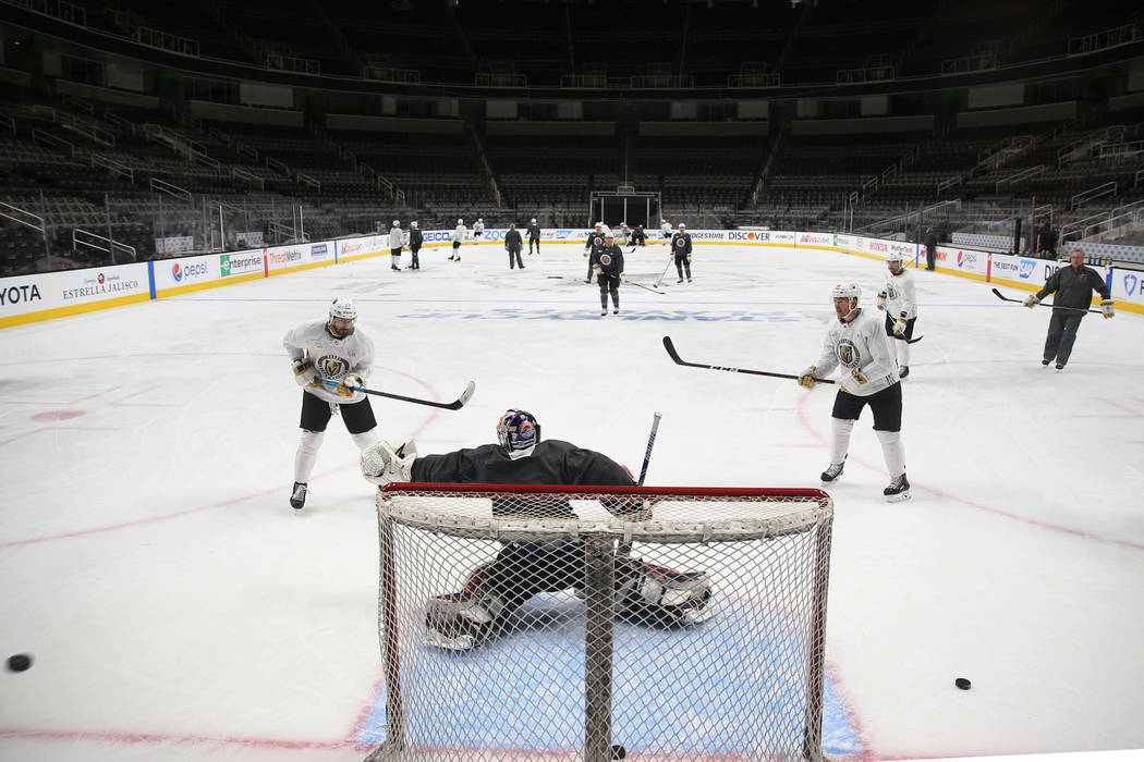 The Vegas Golden Knights practice before Game 5 of an NHL Western Conference quarterfinal serie ...