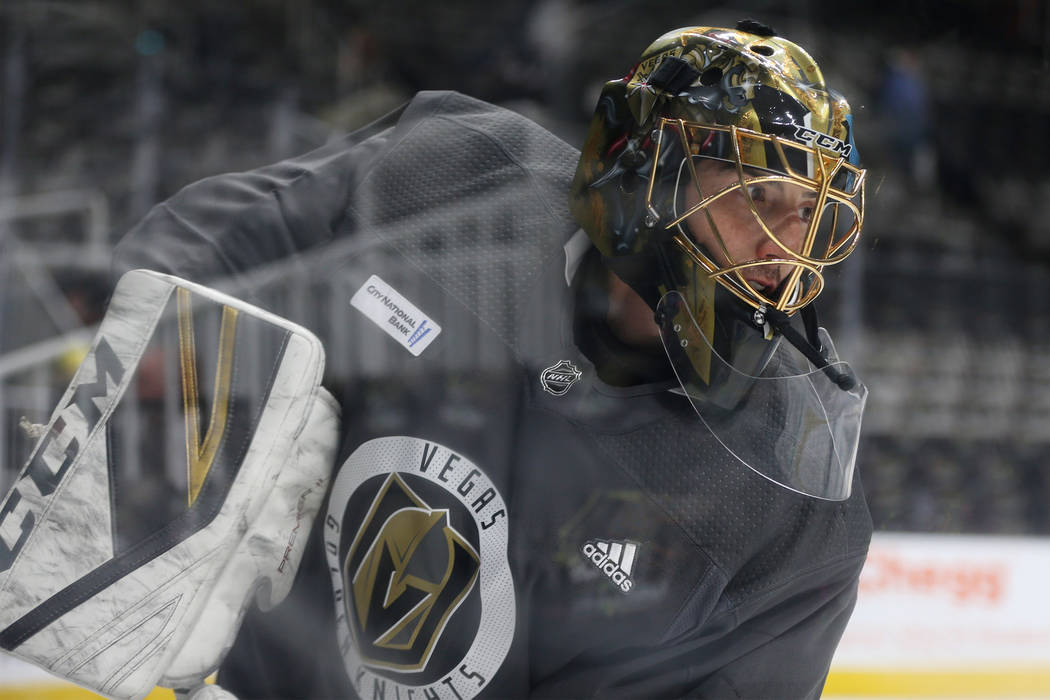 Vegas Golden Knights goaltender Marc-Andre Fleury (29) during a team practice before Game 5 of ...