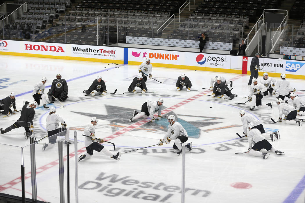 The Vegas Golden Knights stretch during a team practice before Game 5 of an NHL Western Confere ...