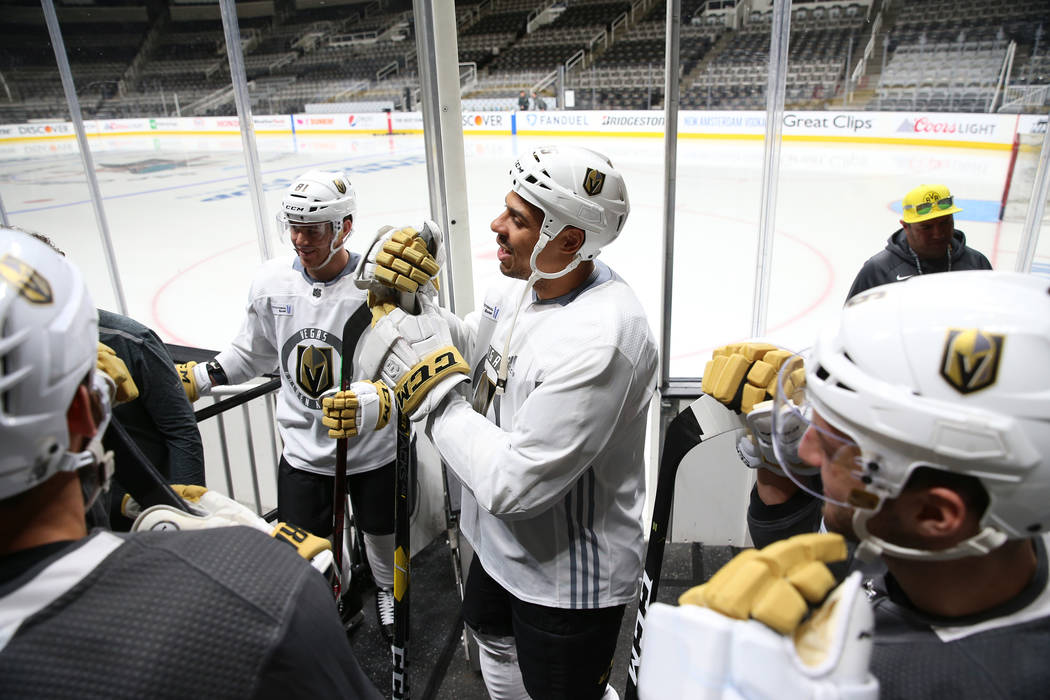 The Vegas Golden Knights wait to take the ice for a team practice before Game 5 of an NHL Weste ...