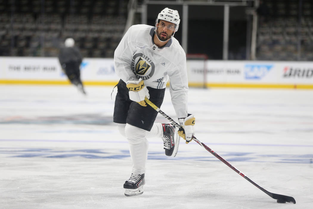 Vegas Golden Knights center Pierre-Edouard Bellemare (41) during a team practice before Game 5 ...