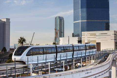 A southbound monorail approaches Convention Center Station on Tuesday, Feb. 12, 2019, in Las Ve ...