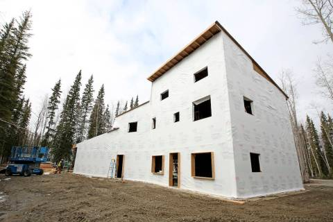 In this photo taken Wednesday, April 17, 2019, is a home under construction for the family of s ...