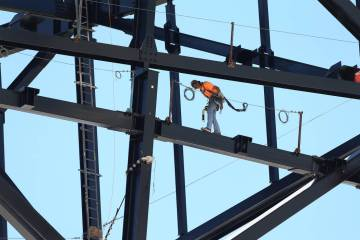 A truss is installed at the Las Vegas Raiders Stadium construction site in Las Vegas, Wednesday ...