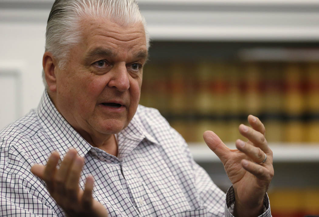 Nevada Gov. Steve Sisolak talks about his first 100 days in office, at the Capitol, in Carson C ...