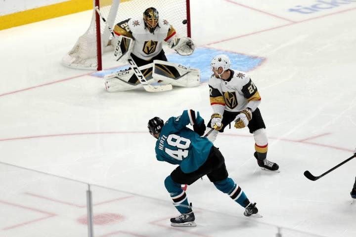 San Jose Sharks center Tomas Hertl (48) shoots for a score against Vegas Golden Knights defense ...