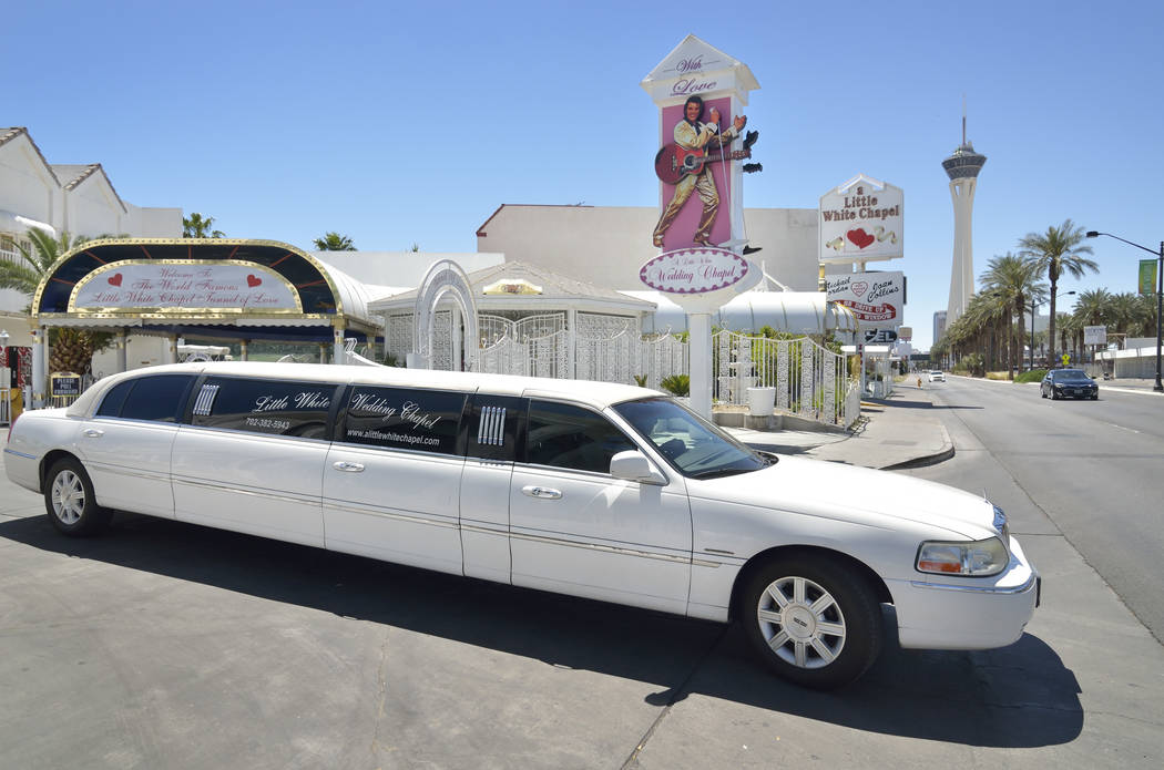 A limousine leaves A Little White Wedding Chapel at 1301 S. Las Vegas Blvd. in Las Vegas on Thu ...