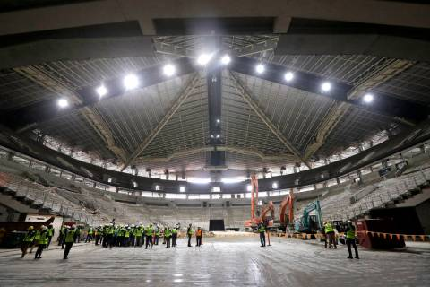 The interior of the existing roof of KeyArena, the only structure that will remain during a maj ...