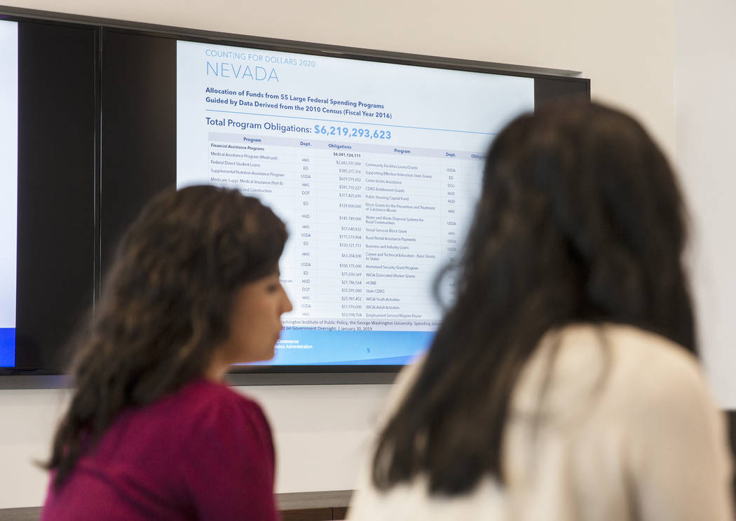 U.S. Department of Commerce partnership specialists meet to discuss the 2020 census on Friday, ...