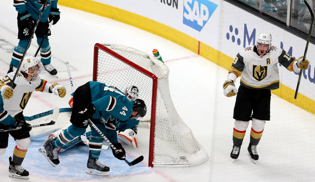 Vegas Golden Knights right wing Reilly Smith (19) celebrates a score against the San Jose Shark ...