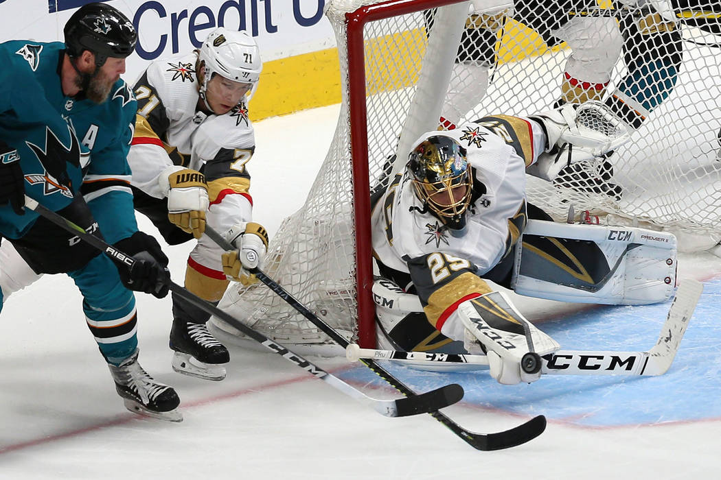 Vegas Golden Knights goaltender Marc-Andre Fleury (29) makes a stop against San Jose Sharks cen ...