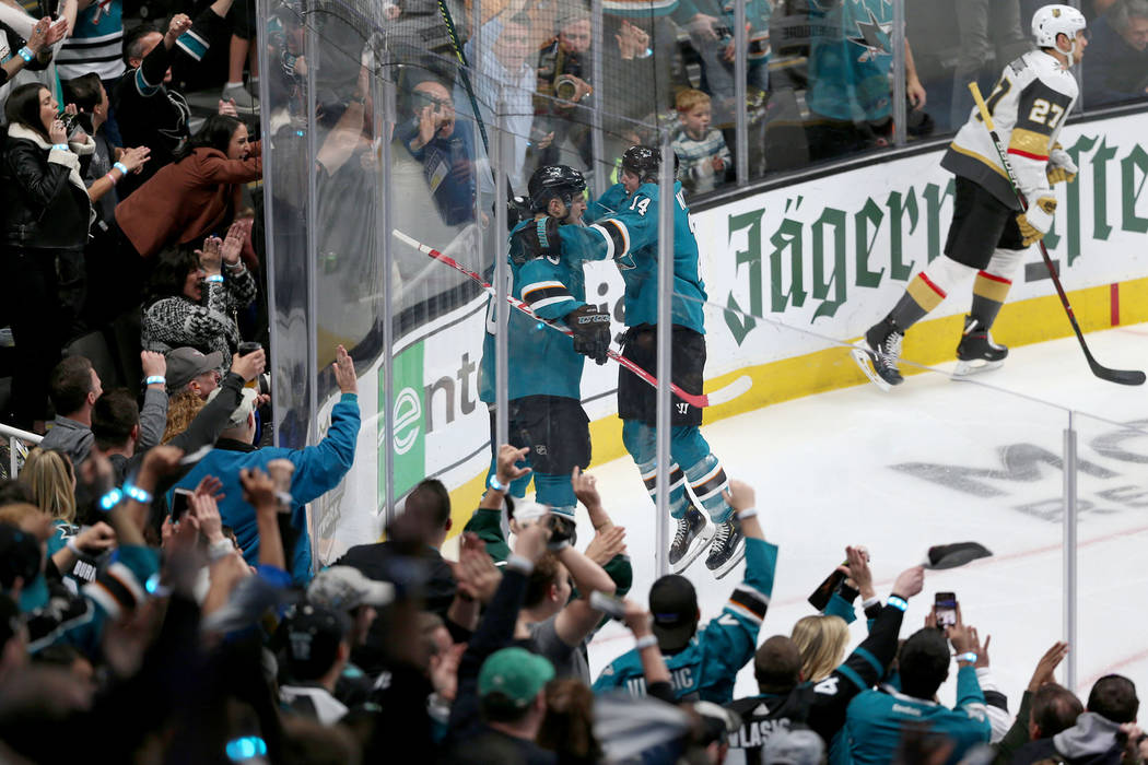 San Jose Sharks center Tomas Hertl (48) celebrates a score with center Gustav Nyquist (14) duri ...