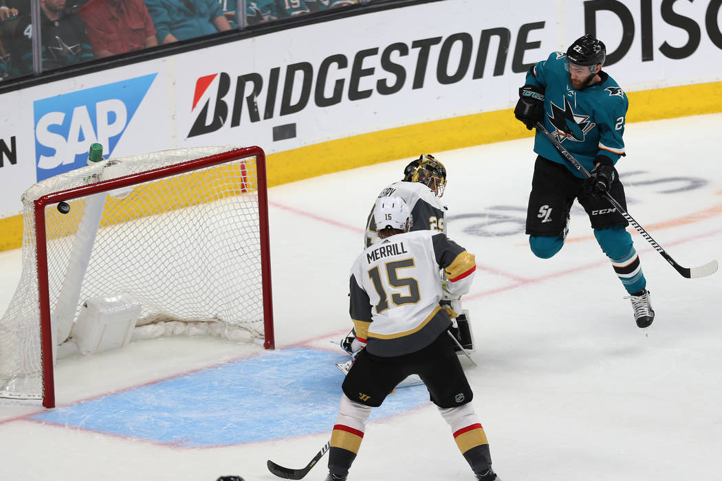 San Jose Sharks right wing Barclay Goodrow (23) shoots for a score against Vegas Golden Knights ...