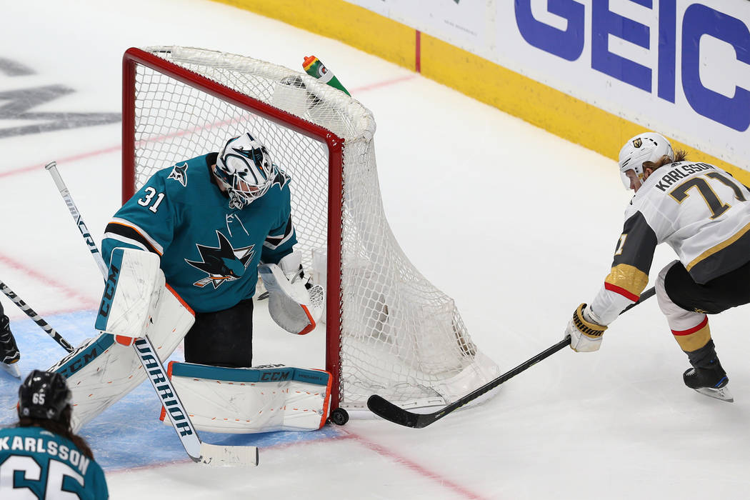 Vegas Golden Knights center William Karlsson (71) shoots the puck against San Jose Sharks goalt ...
