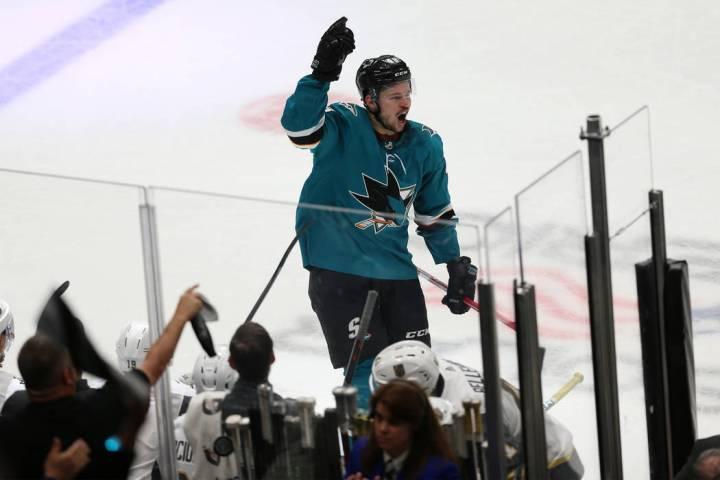 San Jose Sharks center Tomas Hertl (48) celebrates a score during the third period of Game 5 of ...