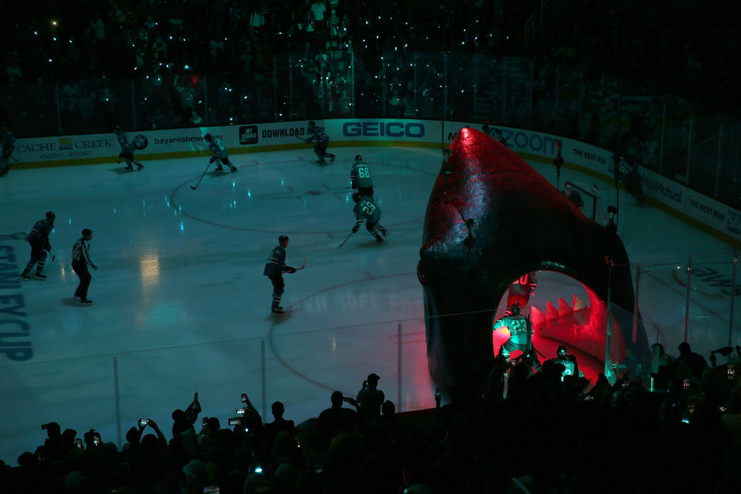 San Jose Sharks players take the ice for Game 5 of an NHL Western Conference quarterfinal serie ...