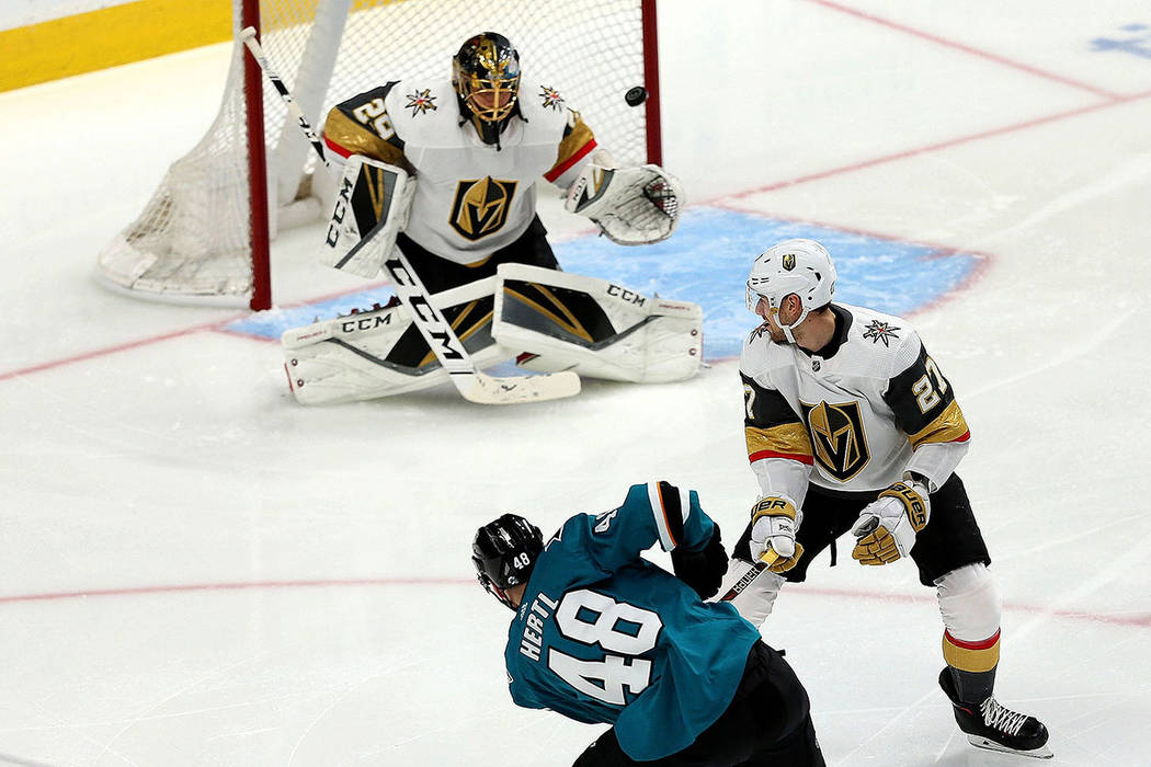 San Jose Sharks center Tomas Hertl (48) shoots for a score against Vegas Golden Knights defense ...