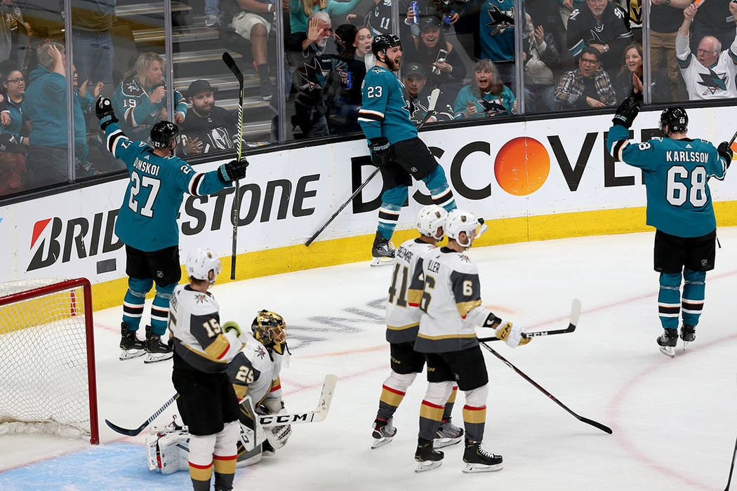 San Jose Sharks right wing Barclay Goodrow (23) celebrates a score against the Vegas Golden Kni ...