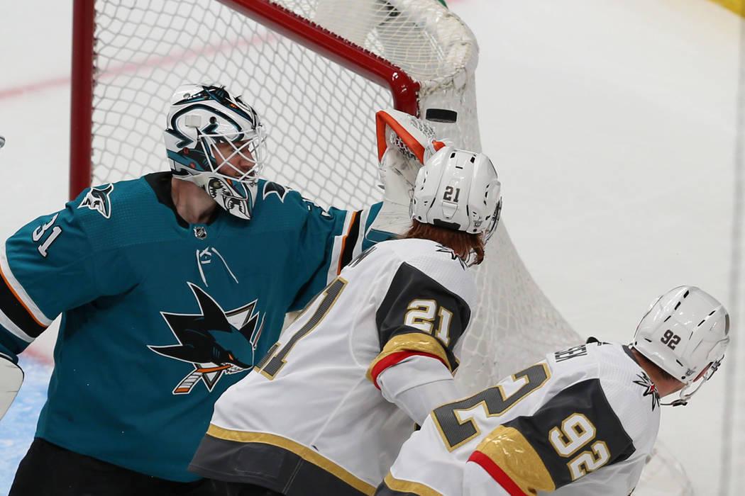 San Jose Sharks goaltender Martin Jones (31) makes a stop against the Vegas Golden Knights duri ...