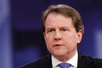 Former White House counsel Don McGahn speaks Feb. 22, 2018, at the Conservative Political Actio ...