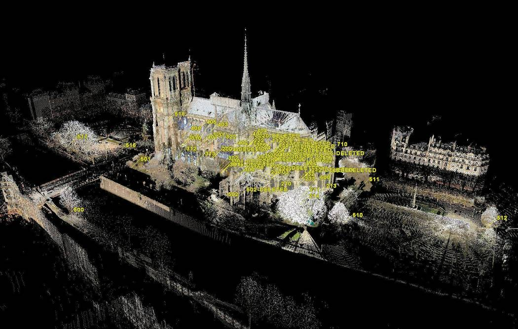 This image provided by Vassar College on Thursday, April 18, 2019 shows a 3D map of Notre Dame ...