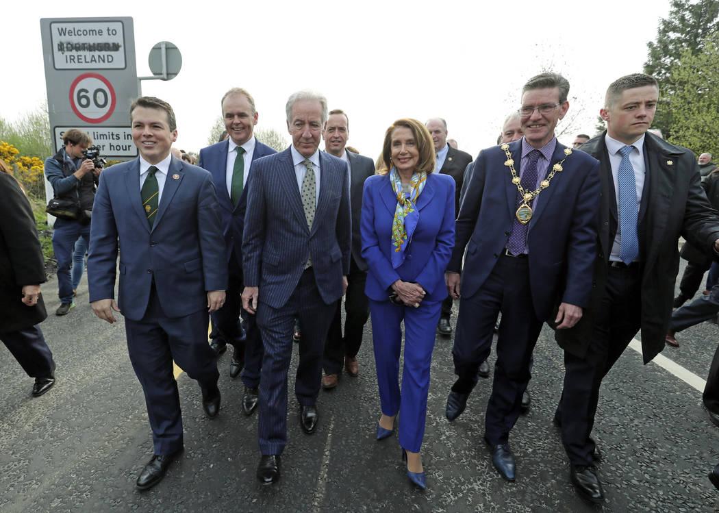 Delegates, from left, U.S. Congressman Brendan Boyle, Irish Education Minister Joe McHugh, U.S. ...