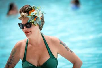 Therese Haverklint from Sweden stands in the pool at The Orleans during the Viva Las Vegas Rock ...