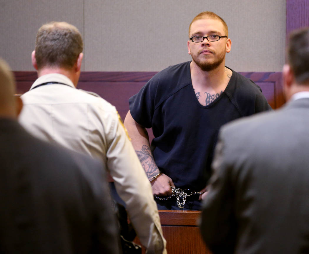 Jon Kennison, 27, appears in court at the Regional Justice Center in Las Vegas Friday, April 19 ...
