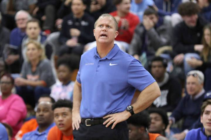 Bishop Gorman head coach Grant Rice is seeing on the sidelines in a Boys Quarterfinal game at t ...